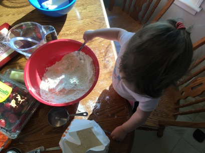 Now that Ella is a big two-year-old, she even got to lick the batter from one of the beaters AND eat a little of the cake!